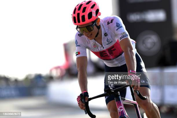 Arrival / Neilson Powless of United States and Team EF Education-Nippo White best young jersey during the 3rd UAE Tour 2021, Stage 3 a 166km stage...