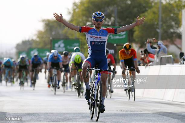 Arrival / Niccolo Bonifazio of Italy and Team Total Direct Energie / Celebration / Phil Bauhaus of Germany and Team Bahrain-Mclaren / Nacer Bouhanni...