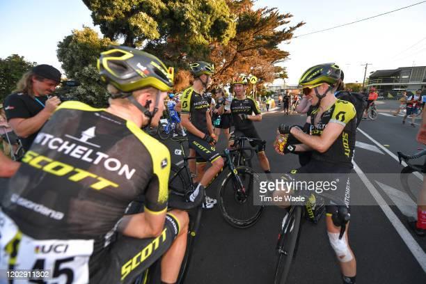 Arrival / Nick Schultz of Australia and Mitchelton-Scott / Simon Yates of The United Kingdon and Team Mitchelton-SCOTT / Dion Smith of New Zealand...