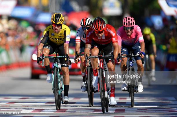Arrival / Nicolas Roche of Ireland and Team Sunweb / Primoz Roglic of Slovenia and Team JumboVisma / Rigoberto Urán of Colombia and Team EF Education...