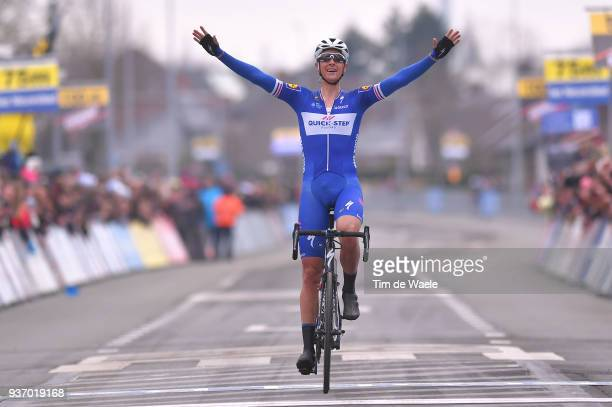 Arrival / Niki Terpstra of The Netherlands and Team QuickStep Floors / Celebration / during the 61st E3 Harelbeke 2018 a 2064km race from Harelbeke...