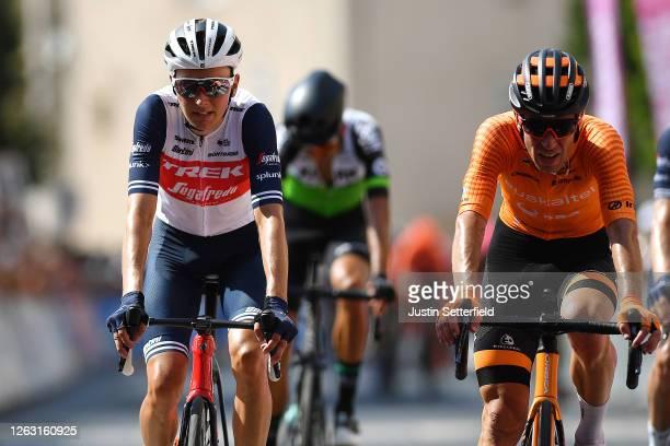 Arrival / Niklas Eg of Denmark and Team Trek - Segafredo / Garikoitz Bravo Oiarbide of Spain and Team Fundacion - Orbea / during the 44th La Route...
