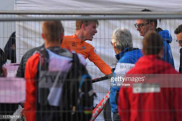 Arrival / Nils Eekhoff of The Netherlands / Disappointment after disqualification for drafting off the national team car following a midrace crash /...