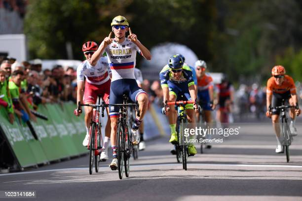 Arrival / Nils Politt of Germany and Team Katusha Alpecin White Best Young Rider Jersey / Matej Mohoric of Slovenia and Bahrain Merida Pro Team...