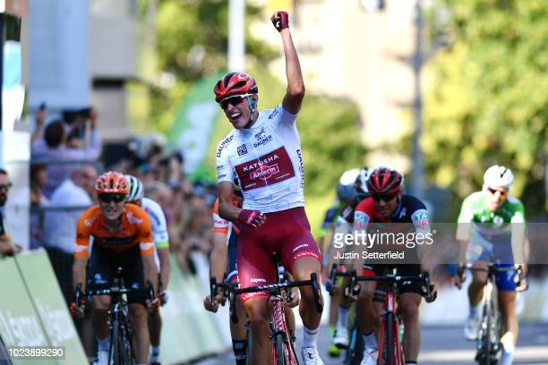 Arrival / Nils Politt of Germany and Team Katusha - Alpecin White Best Young Jersey / Celebration / during the 33rd Deutschland Tour 2018, Stage 4 a...
