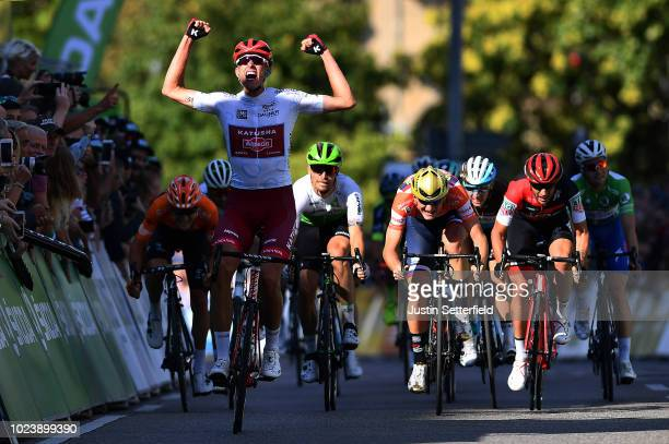Arrival / Nils Politt of Germany and Team Katusha - Alpecin White Best Young Jersey / Celebration / Matej Mohoric of Slovenia and Bahrain Merida Pro...