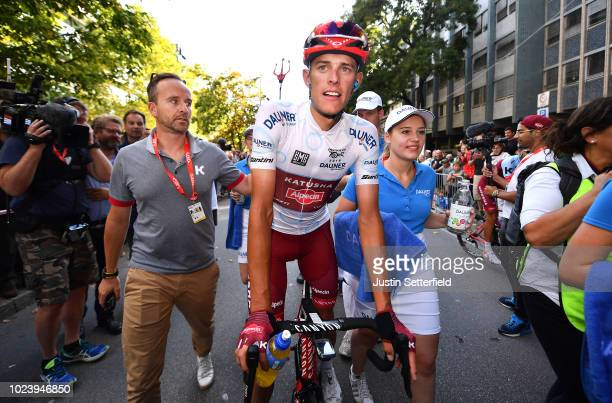 Arrival / Nils Politt of Germany and Team Katusha - Alpecin White Best Young Jersey / c Nier Manager / Celebration / during the 33rd Deutschland Tour...