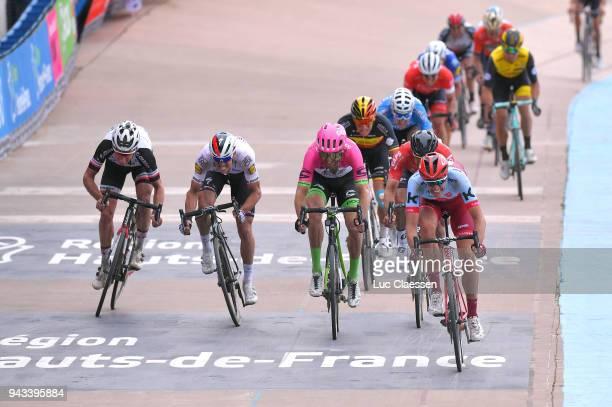 Arrival / Nils Politt of Germany and Team Katusha Alpecin / Zdenek Stybar of Czec Republik and Team QuickStep Floors / Track Roubaix Velodrome /...