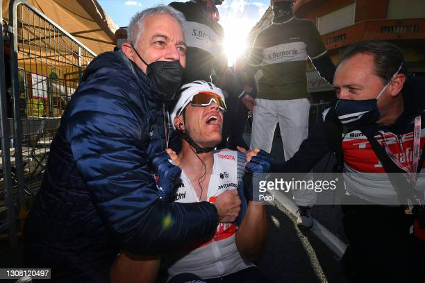 Arrival / Nino Daniele of Italy Team Doctor & Jasper Stuyven of Belgium and Team Trek - Segafredo Celebration, during the 112th Milano-Sanremo 2021 a...