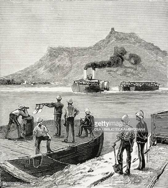 Arrival of a draft of the Second Battalion Essex Regiment at Aswan signalling the landing place the British Nile Expedition for the relief of General...