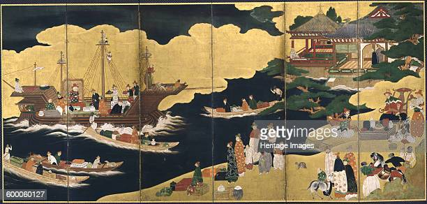 Arrival of a Portuguese ship Nanban screen ca 1600 Found in the collection of Asian Art Museum San Francisco Artist Anonymous