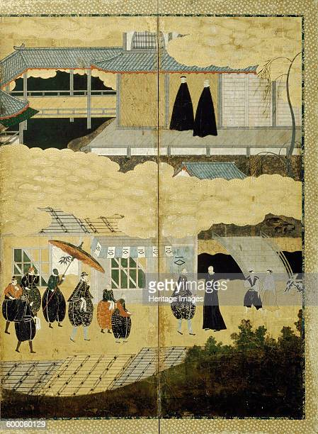 Arrival of a Portuguese ship Nanban screen Detail Japanese Christians ca 1600 Found in the collection of Rijksmuseum Amsterdam Artist Anonymous