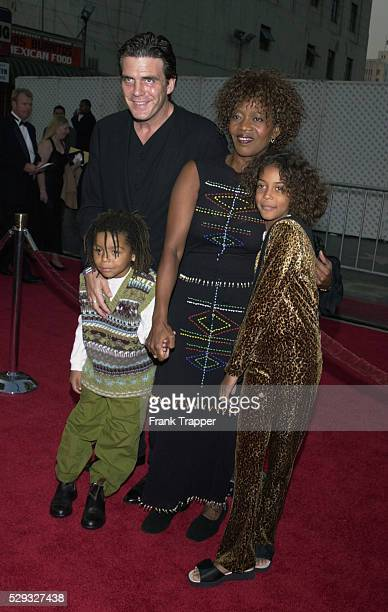 Arrival of actress Alfre Woodard with husband Roderick Spencer son Duncan and daughter Mavis