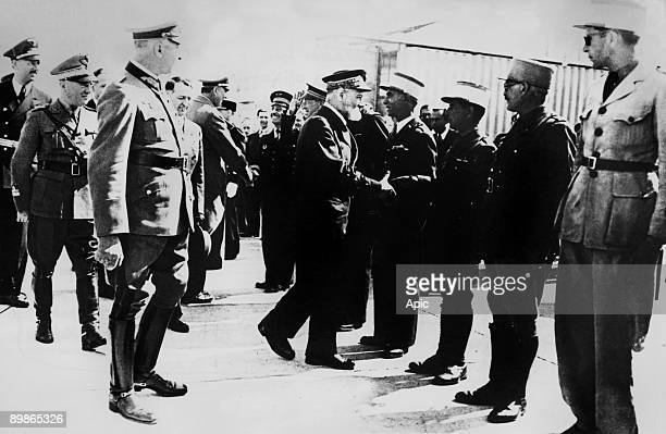 Arrival of admiral Jean Pierre Esteva in Vichy with lr captains Schlisler and Dupuis commandant Curnier a navy officer the lieutenent colonel Sarton...