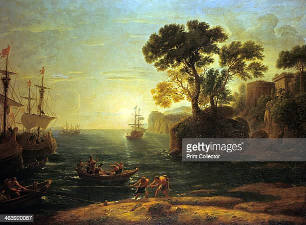 'Arrival of Aeneas in Italy the Dawn of the Roman Empire' Aeneas hero of Troy son of Anchises and Aphrodite arrives in Italy where he is destined to...