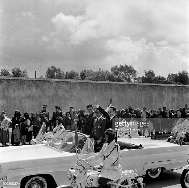 Arrival of Ahmed Ben Bella and Algerian leaders after release in March 1962 in Rabat Morocco