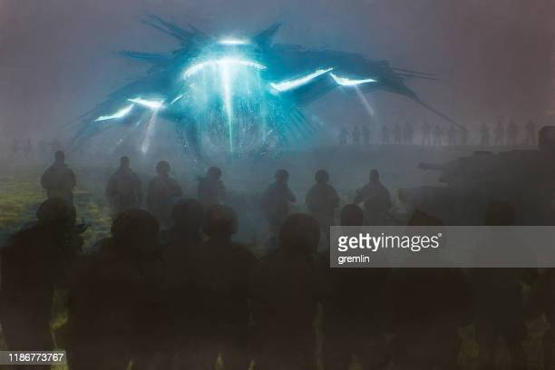 arrival of alien star ship - military invasion stock pictures, royalty-free photos & images