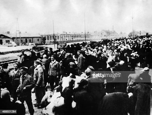 Arrival of anew transport of prisoners to the gas chambers at the Oswiecim concentration camp AFP PHOTO