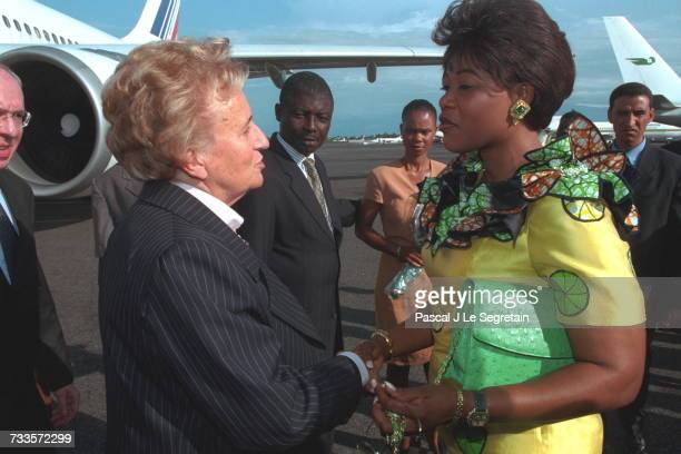 Arrival of Bernadette Chirac in Libreville She is greeted by Edith Lucie Bongo the Gabonese President's wife