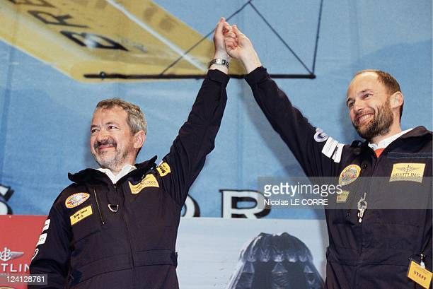 Arrival of Bertrand Piccard Brian Jones In Geneva Switzerland On March 22 1999 Aerostat Pilots Party