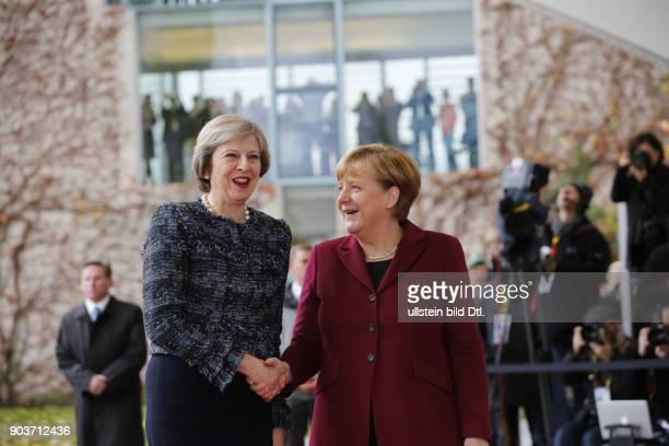 Arrival of British Prime Minister Theresa May with red high heels German Chancellor Angela Merkel welcomes the US President and four Heads of State...