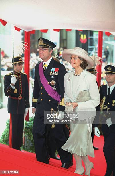 Arrival of Carl Gustaf and Silvia of Sweden