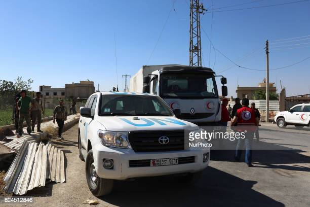 Arrival of convoys of the United Nations and UNICEF and the Syrian Red Crescent Al Nashabiya Village in Al Marj Area eastern Ghouta Caravans carry...