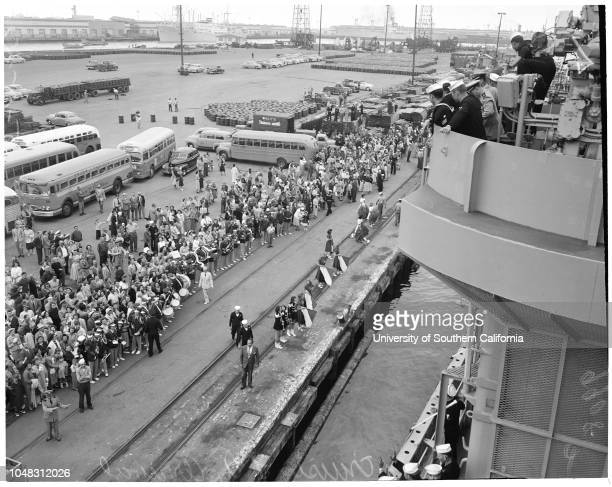 Arrival of cruiser Los Angeles 15 May 1953 Ship approaching Los Angeles HarborDave SmithMax Richardson Dick Lemon 25 years Rickey PomettiCarolyn...