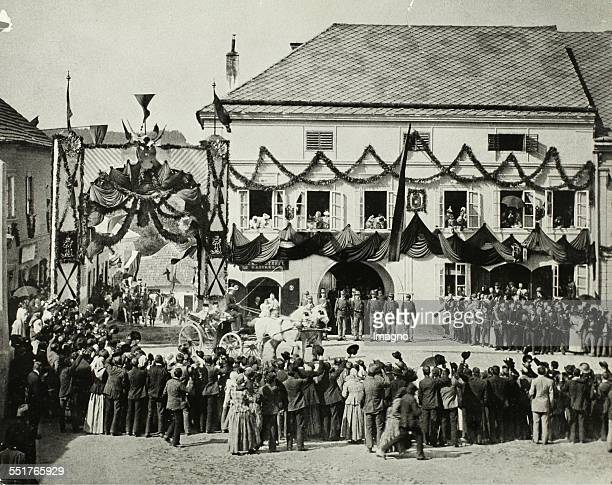 Arrival of Emperor Franz Joseph I at the Imperial maneuvers in Bánffyhunyad near Cluj / Transylvania 1898 photograph