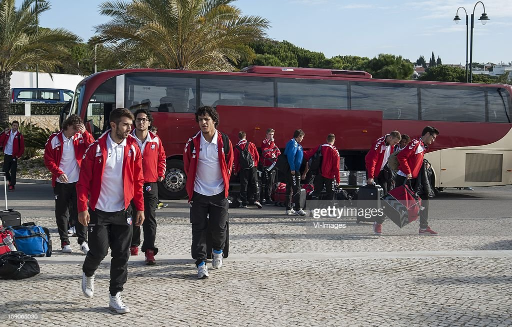 Arrival of FC Utrecht at the hotel during the training camp of FC Utrecht on January 7, 2013 at Almancil, Portugal.