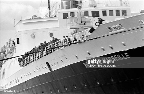 Arrival of French civilians and militaries from Algeria aboard the ship Ville De Marseille in Marseille France in May 1962