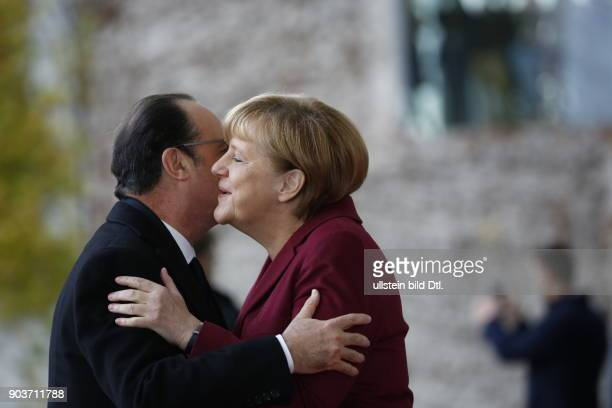 Arrival of French President Francois Hollande German Chancellor Angela Merkel welcomes the US President and four Heads of State and Government of the...