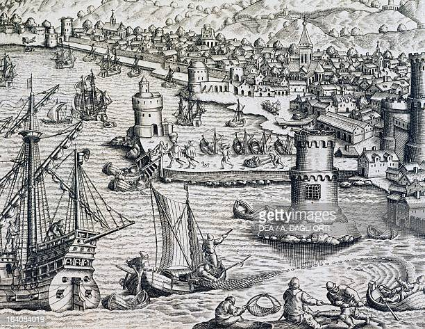 Arrival of Girolamo Benzoni in the port of La Palma during his trip to the Americas engraving from the Historia Americae by Theodor de Bry Frankfurt...