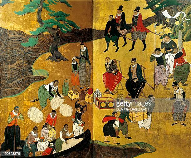 Arrival of goods received by the Portuguese in Japan detail from a screen decoration attributed to Kano Domi Namban art Japan Japanese Civilisation...