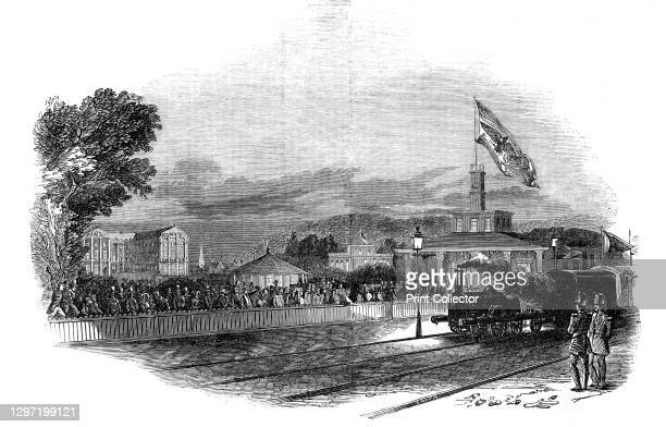Arrival of Her Majesty at Bruhl, 1845. Queen Victoria travels by train during a royal visit to Germany: 'the scene of her Majesty's Arrival at the...