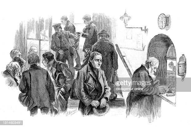 Arrival of homeless people at the homeless shelter and distribution of the evening soup, Berlin, Germany, 1892 / Ankunft von Obdachlosen im...