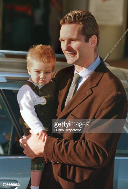 Arrival of Inaki Urdangarin with his eldest son Juan Valentin at the Teknon Clinic where Infanta Christina gave birth to her second son Pablo Nicolas