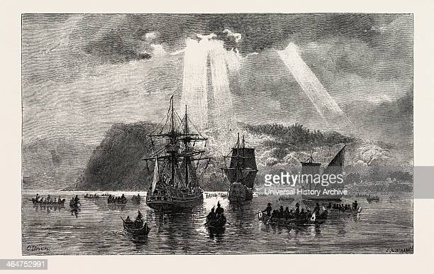 Arrival Of Jacques Cartier At Stadacona, Canada, Nineteenth Century Engraving.