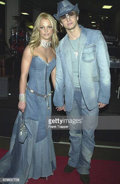 Arrival of Justin Timberlake of N'Sync with Britney Spears