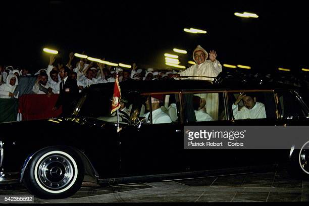 Arrival of King Hassan II and his two sons Prince Sidi Mohammed and Prince Moulay Rachid