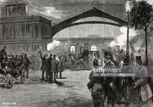 Arrival of King Umberto I and Queen Margherita's carriage in Rome the night of 15 November celebrating the Queen's 29th birthday Italy drawing by...