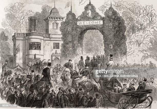 Arrival of Lord and Lady Braybrooke at Audley End House Saffron Walden Essex United Kingdom illustration from the magazine The Illustrated London...
