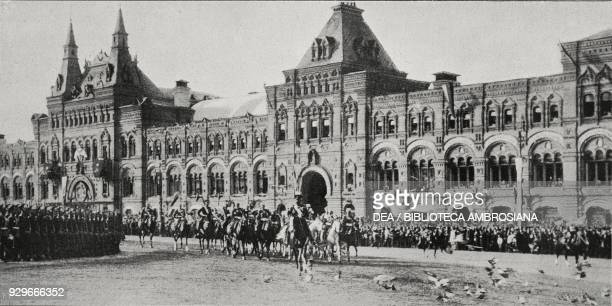 Arrival of Nicholas II and Aleksandra Fedorovna Romanova at the door of the Kremlin the 3rd centenary of the Romanov dynasty being celebrated in...