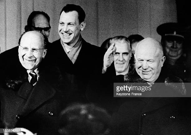 Arrival Of Nikita Khrushchev At 6th Conference Of Communist Party Of East Germany Welcomed By East Germany President Walter Ulbricht East Berlin...