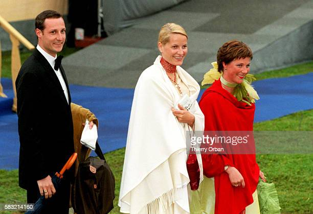 Arrival of Prince Haakon of Norwary with his fiancee Mette Marit Tjessen Hoiby and Princess Martha Louise of Norway at Drottningholm