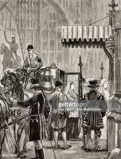 Arrival of Queen Victoria in a coach the opening of the Parliament London United Kingdom illustration from the magazine The Graphic volume XIII no...