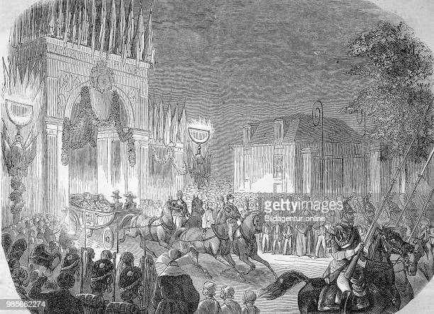 Arrival of queen Victoria of England at St Cloud France Digital improved reproduction of an original woodprint from the 19th century