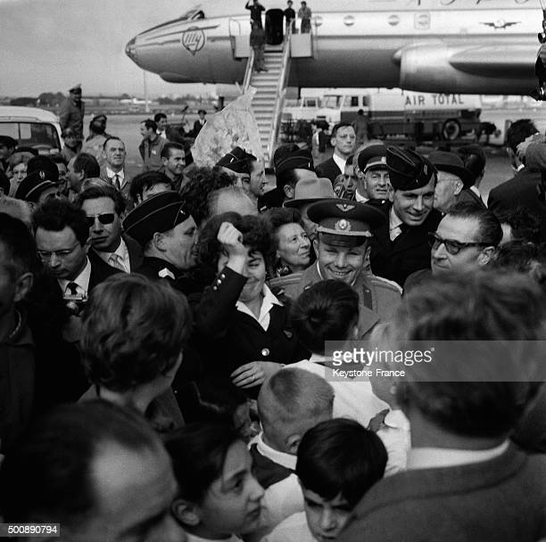 Arrival of Russian cosmonaut Yuri Gagarin at Le Bourget airport on September 27 1963 in Le Bourget France