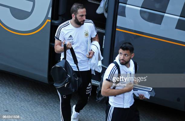 arrival of Sergio Aguero and Gonzalo Higuain with the Argentine national team in Barcelona where they will hold a stage for the 2018 World Cup on...