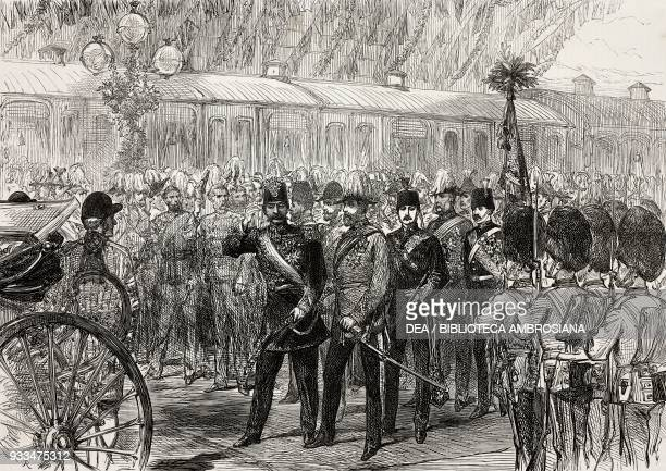 Arrival of Shah of Persia Naser alDin Shah Qajar at CharingCross Station London United Kingdom illustration from the magazine The Illustrated London...